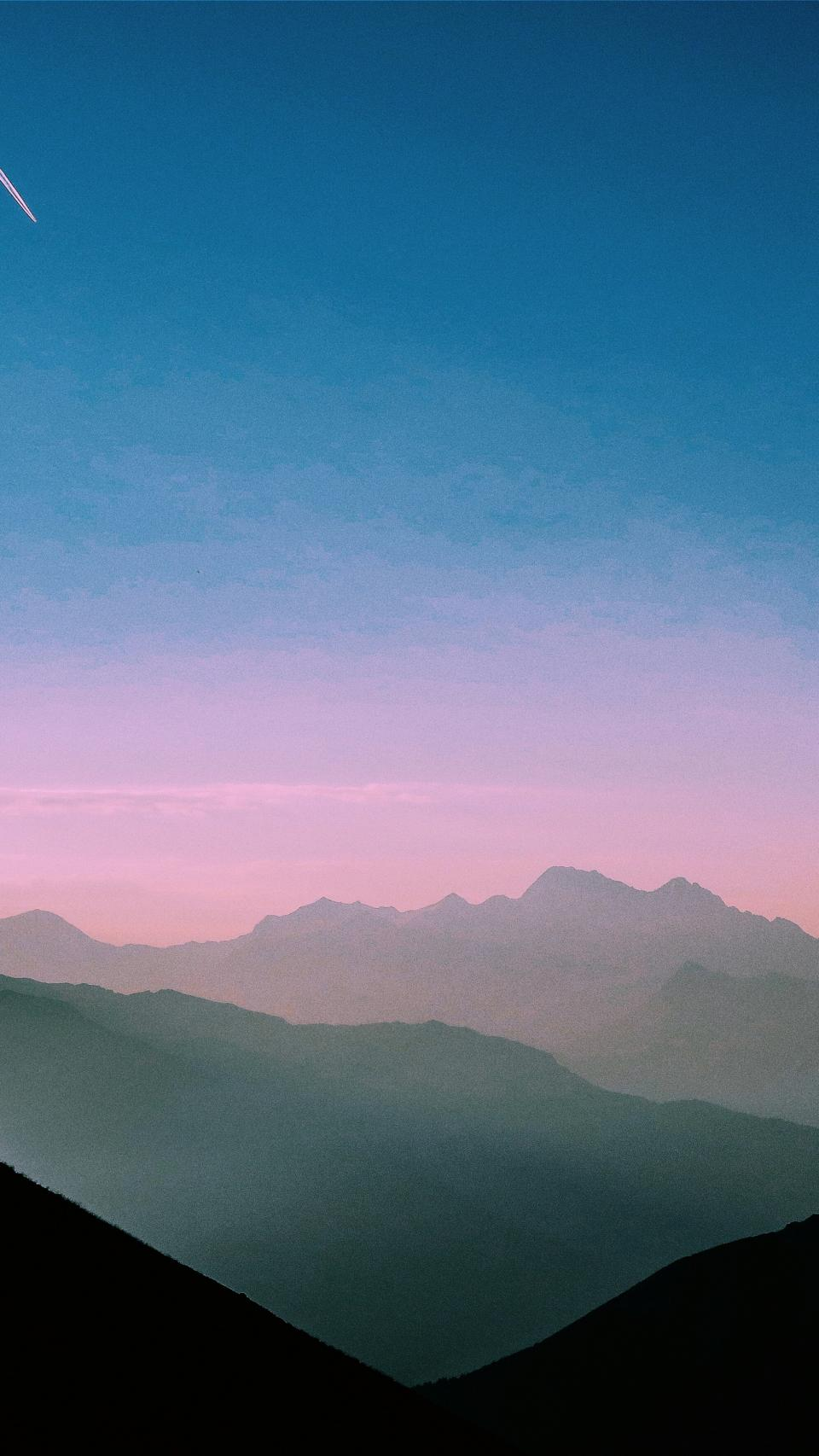 nature, landscape, mountains, summit, peaks, sky, horizon, clouds, gradient, shadows, silhouette