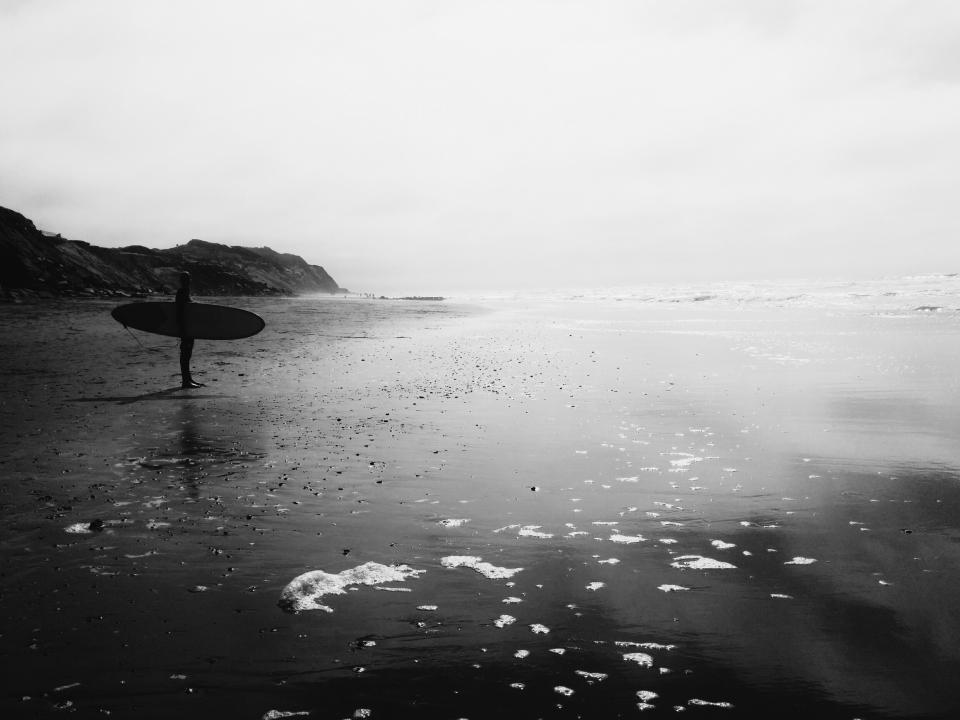 black and white, surfer, surf board, beach, sand, water, ocean, waves, man, guy