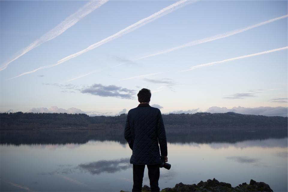 man, guy, photographer, camera, dslr, lens, lake, water, reflection, blue, sky, trees, landscape, people