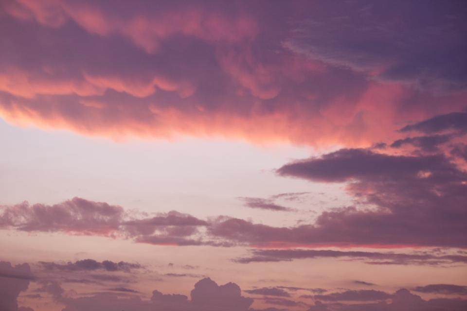 pink, sky, sunset, sky, clouds, nature