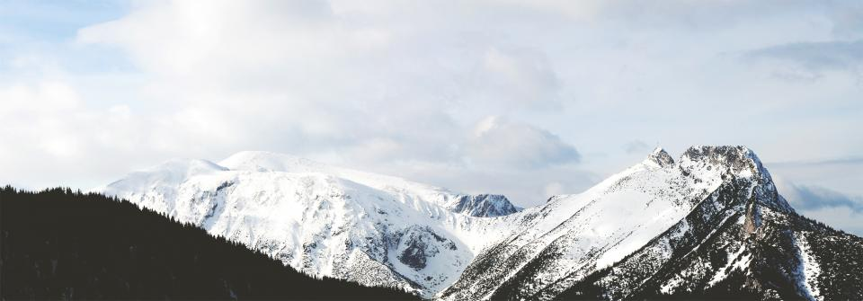 sky, clouds, mountains, peaks, snow, cold, winter, cliffs, hills