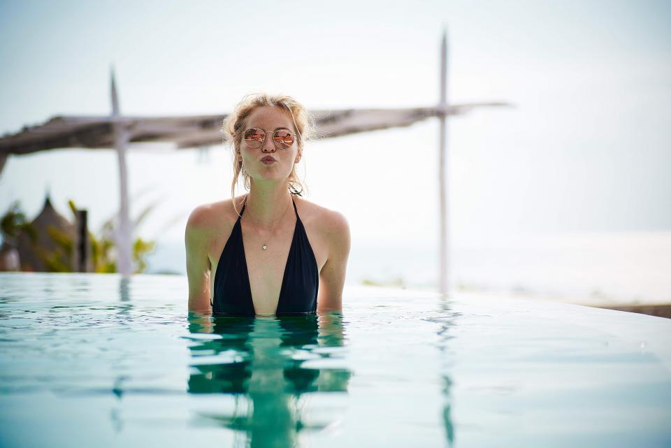 girl, swimming, pool, bikini, bathing suit, sunglasses, kisses, woman, people