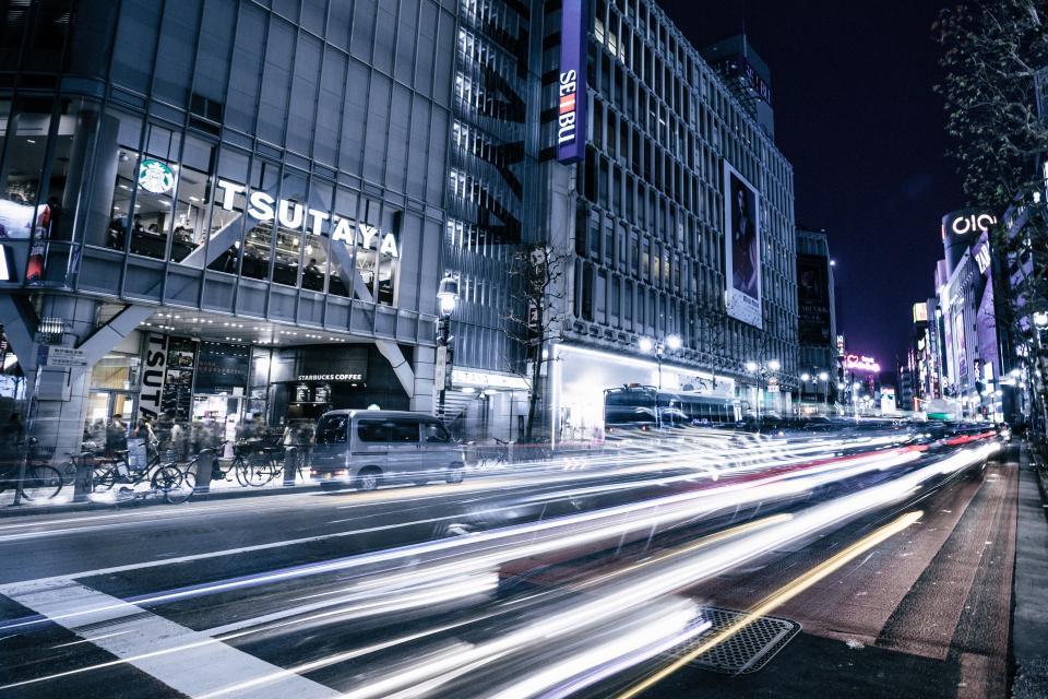 tokyo, japan, city, traffic, night, lights, highway, road, cars, buildings, urban