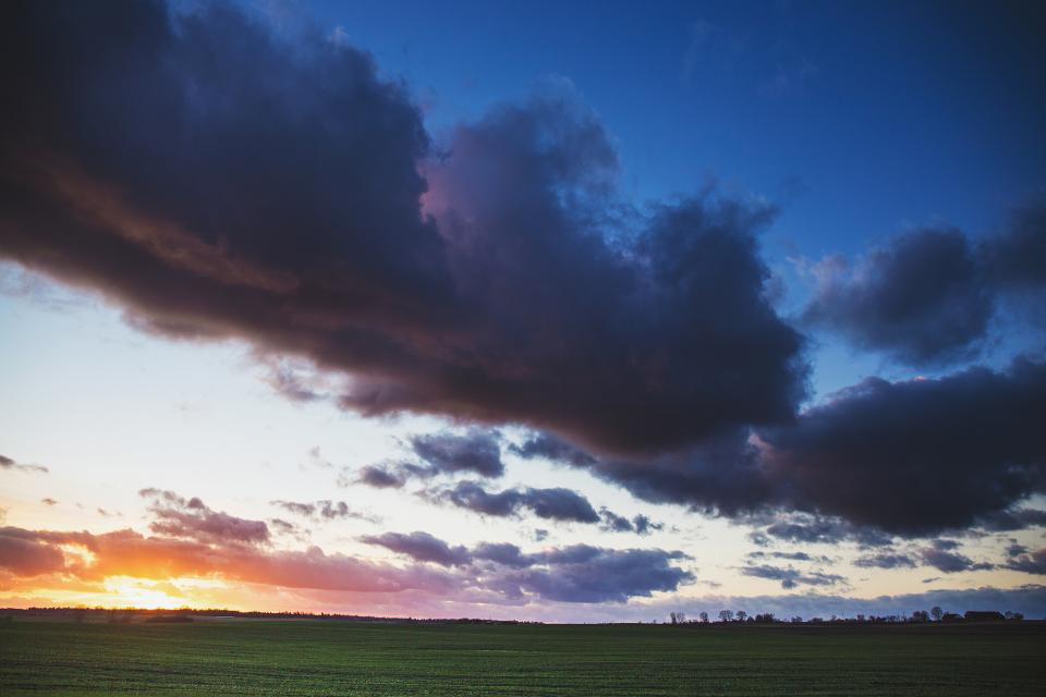 sunset, dusk, sky, clouds, field, grass, landscape, nature, outdoors, rural, countryside