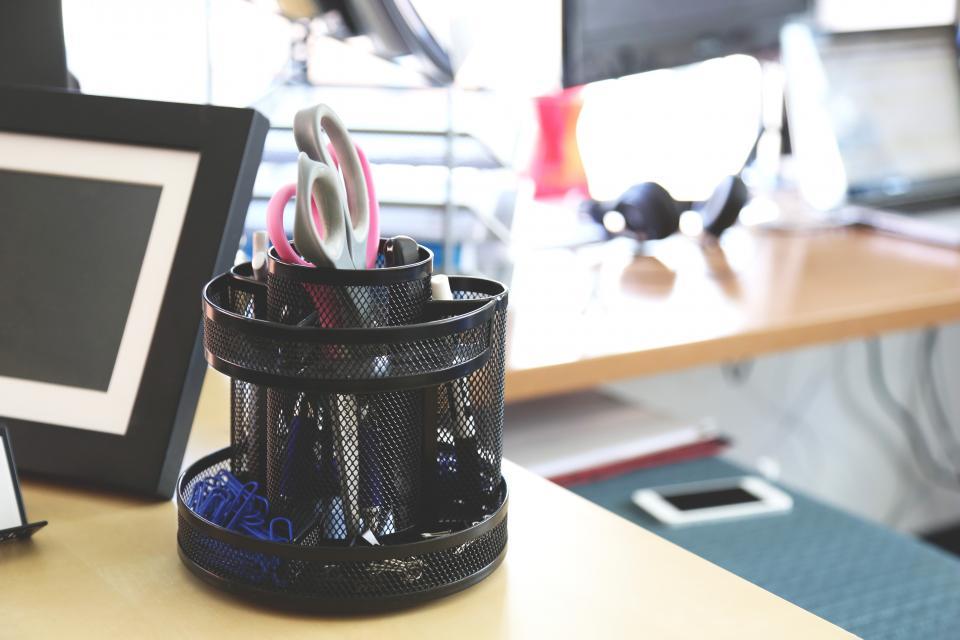 desk, office supplies, stationary, business, scissors, paper clips, pens, pencils