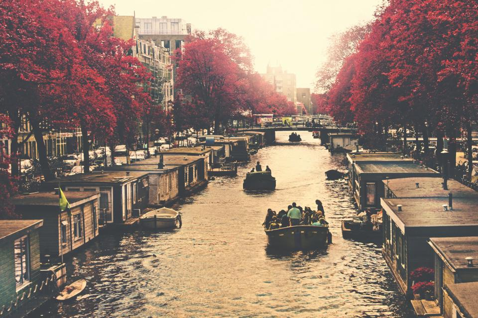 canal, river, water, boats, people, city, fall, autumn, trees, leaves, buildings, town