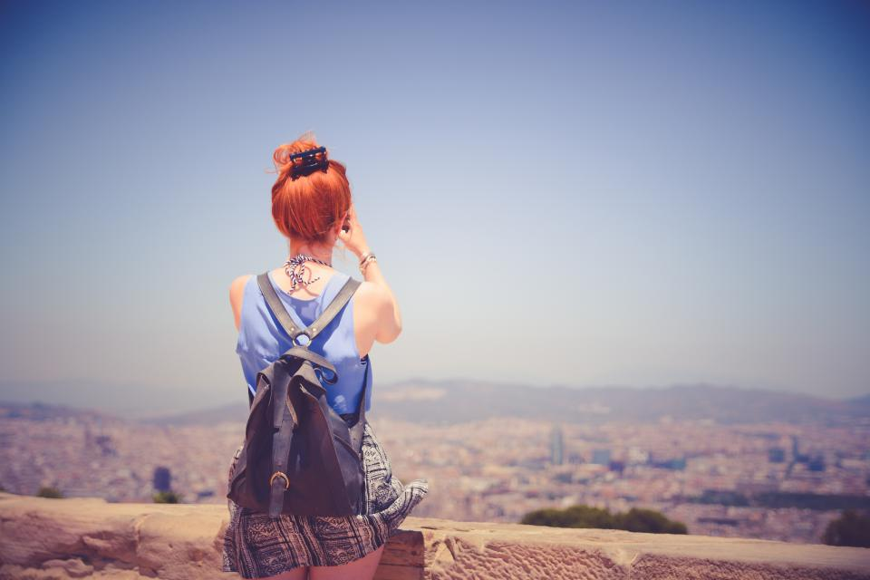girl, woman, red head, hair, people, backpack, fashion, view, landscape, blue, sky, summer, lifestyle, city, town, looking