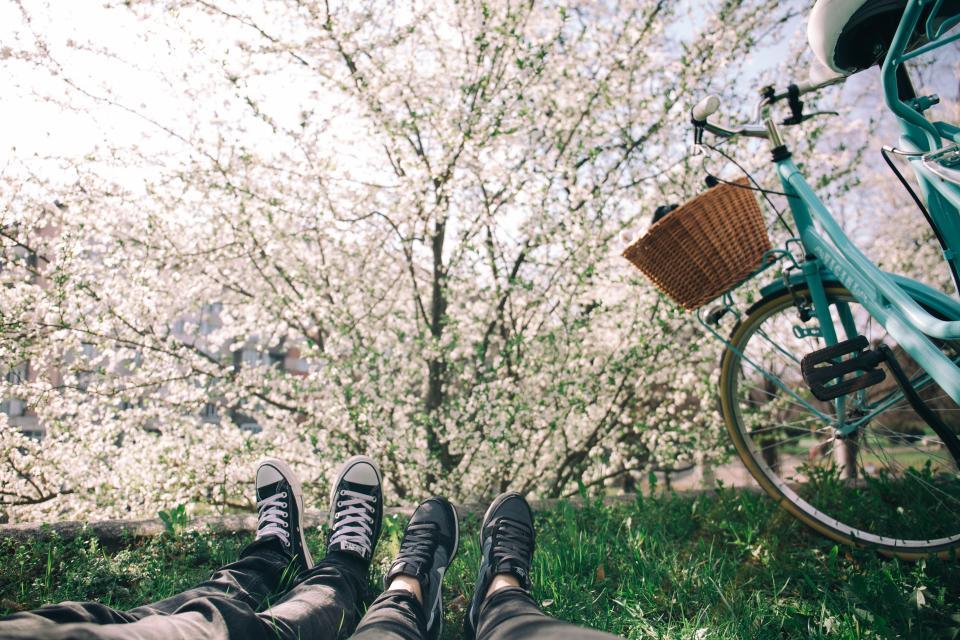 shoes, sneakers, feet, grass, lawn, lying down, bicycle, basket, trees, leaves, branches, nature, outdoors, sunshine, people