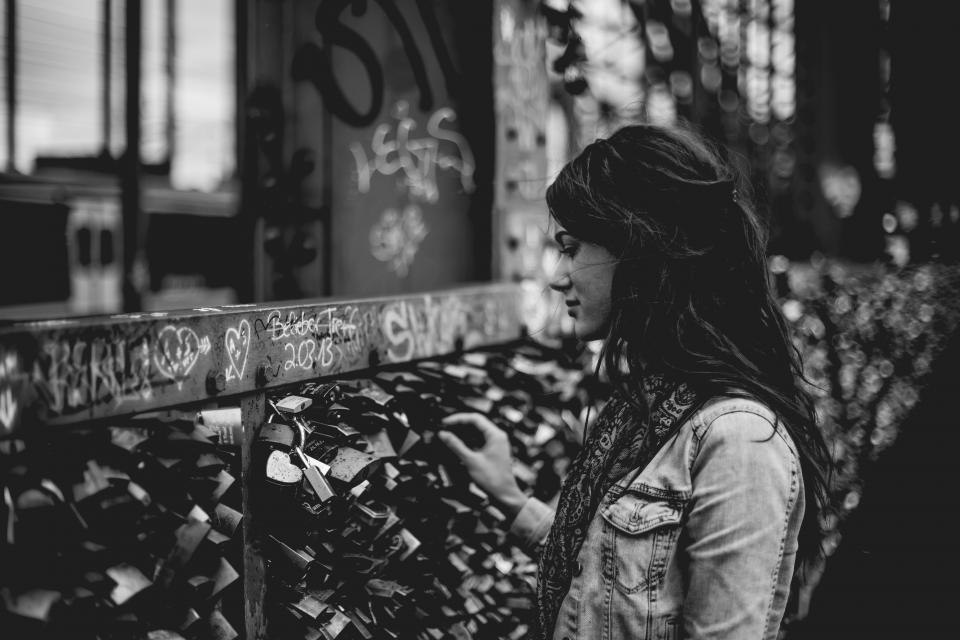 girl, beauty, alone, people, locks, metal, fence, letter, wall, blur, bokeh