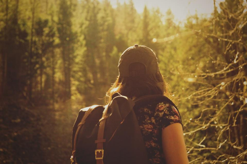 girl, woman, hiking, trekking, backpack, knapsack, nature, outdoors, adventure, forest, woods, trees, hat, people