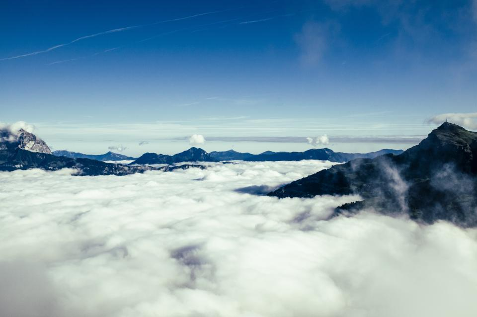 blue, sky, clouds, mountains, peaks, summit, outdoors, landscape, nature, sunshine