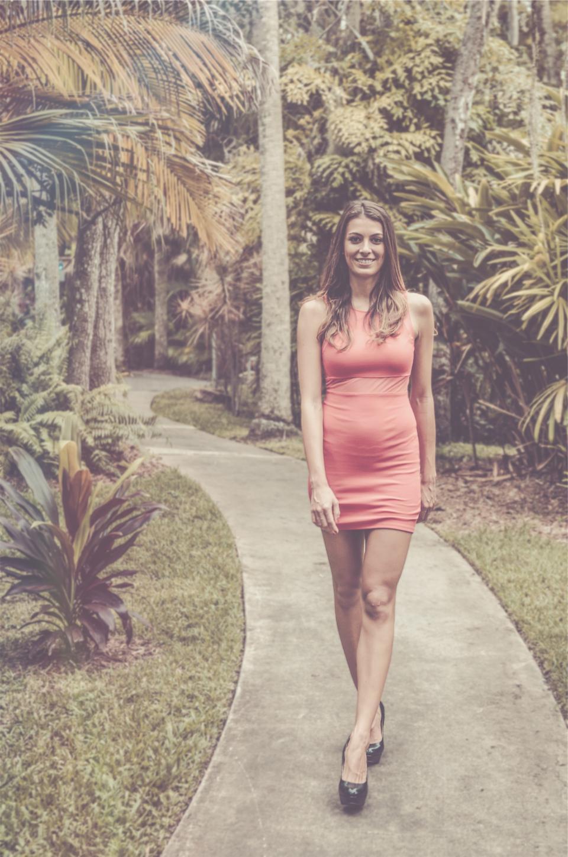 girl, woman, dress, pink, high heels, fashion, long hair, brunette, pretty, beautiful, model, walking, path, trees, people, sexy
