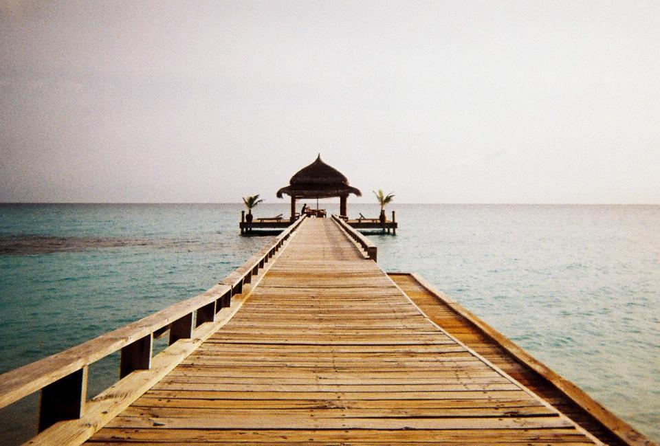 sky, water, pier, wood, tropical, gazebo, ocean, sea