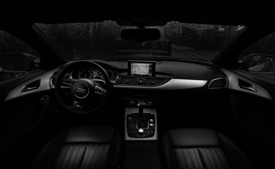 Audi, car, interior, dashboard, steering wheel, automotive, black and white, navigation, leather, luxury