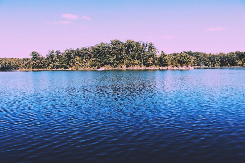lake, water, nature, outdoors, landscape, trees, island, sky