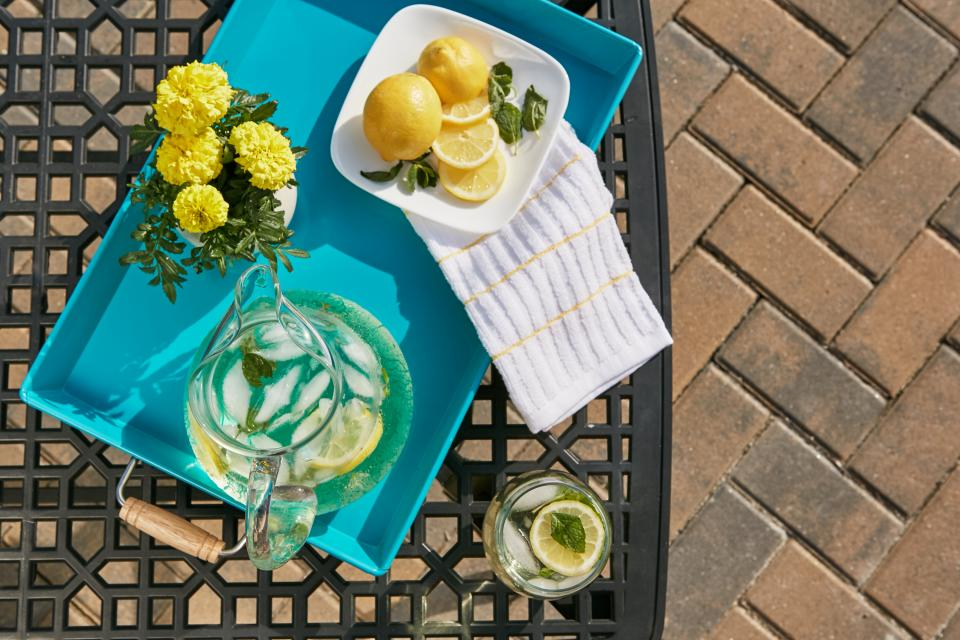lemons, water, glass, jug, yellow, flowers, tray, patio, summer