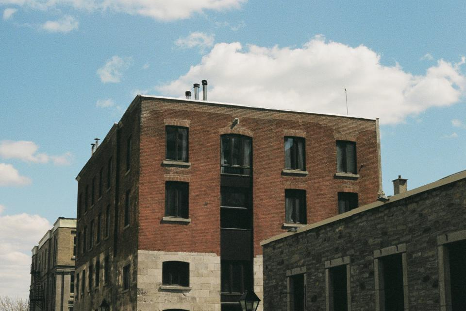 city, town, buildings, windows, bricks, stones, chimneys