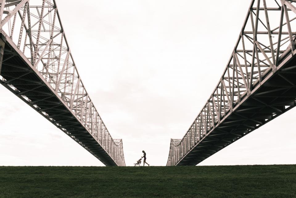 bridge, architecture, structure, steel, sky, grass, stroller, people, baby, kid, child, girl