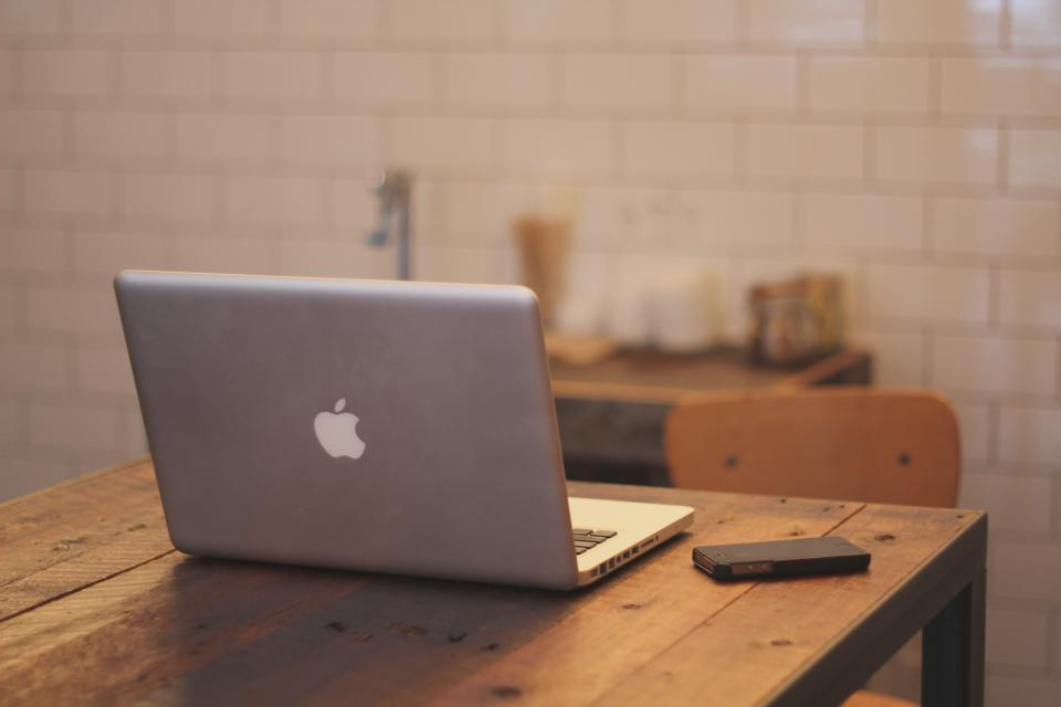 macbook, laptop, apple, iphone, table, chair, wood, tiles, technology, business
