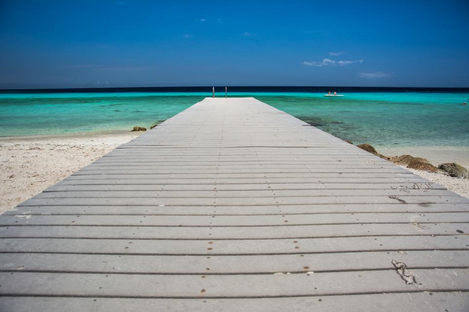 wood, dock, beach, sand, water, ocean, sea, tropical, paradise, vacation, sky