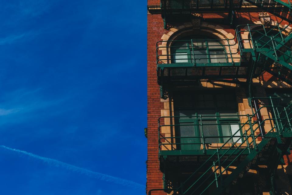 blue, sky, building, bricks, stairs, steps, windows, architecture