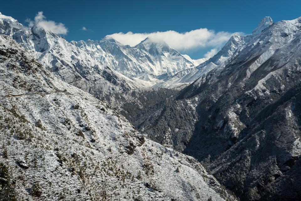 sky, blue, clouds, mountains, peak, snow, cliffs, alps