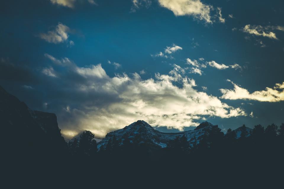 blue, sky, mountains, peaks, silhouette, shadows, sunset, dusk, clouds, outdoors, landscape, nature, adventure