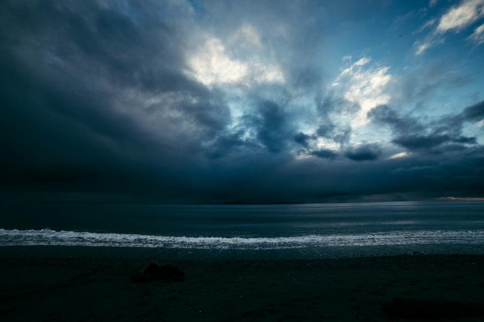 ocean, sea, beach, shore, storm, dark, night, evening, dusk, sky, clouds, landscape, nature