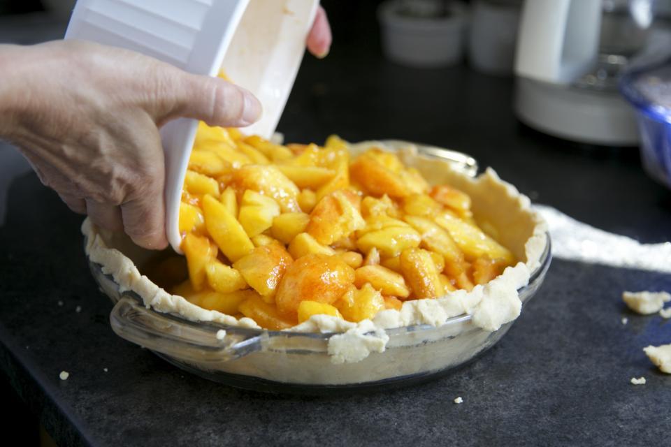baking, pie, crust, apples, fruit, dessert, hands, dish, kitchen, counter