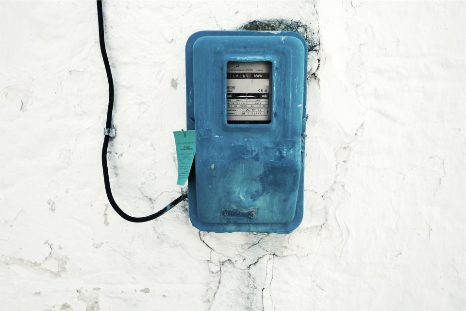 hydro, meter, electricity, blue, box, wire, wall