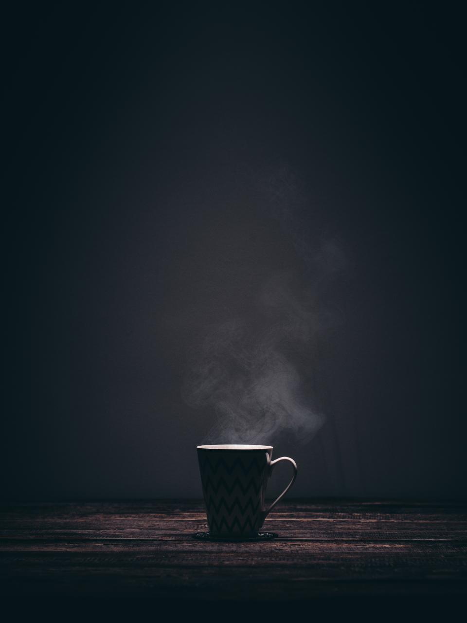 cup, mug, steaming, smoke, coffee, tea, drink, dark, table