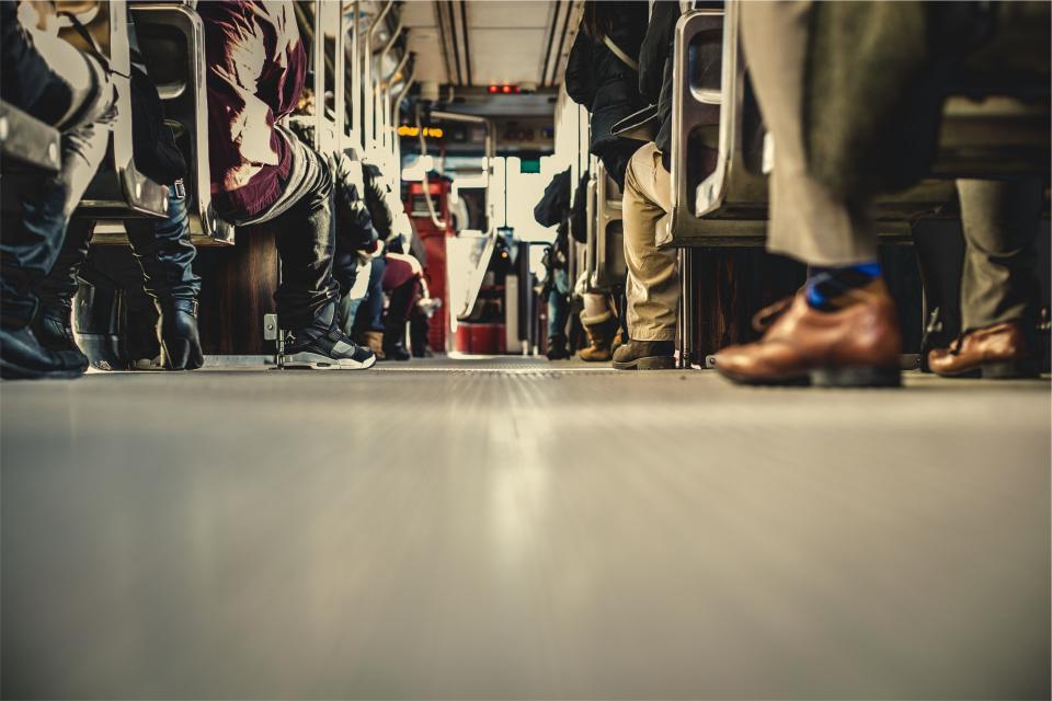 bus, transportation, people, aisle, shoes, seats