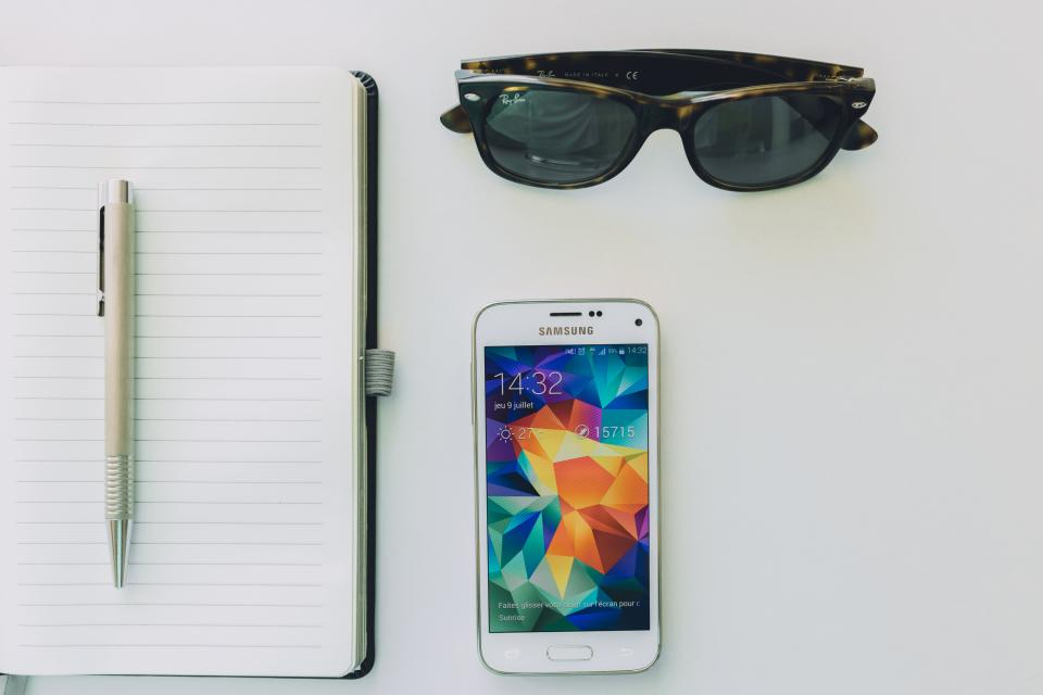 smartphone, mobile, notepad, notebook, pen, technology, sunglasses, objects, business