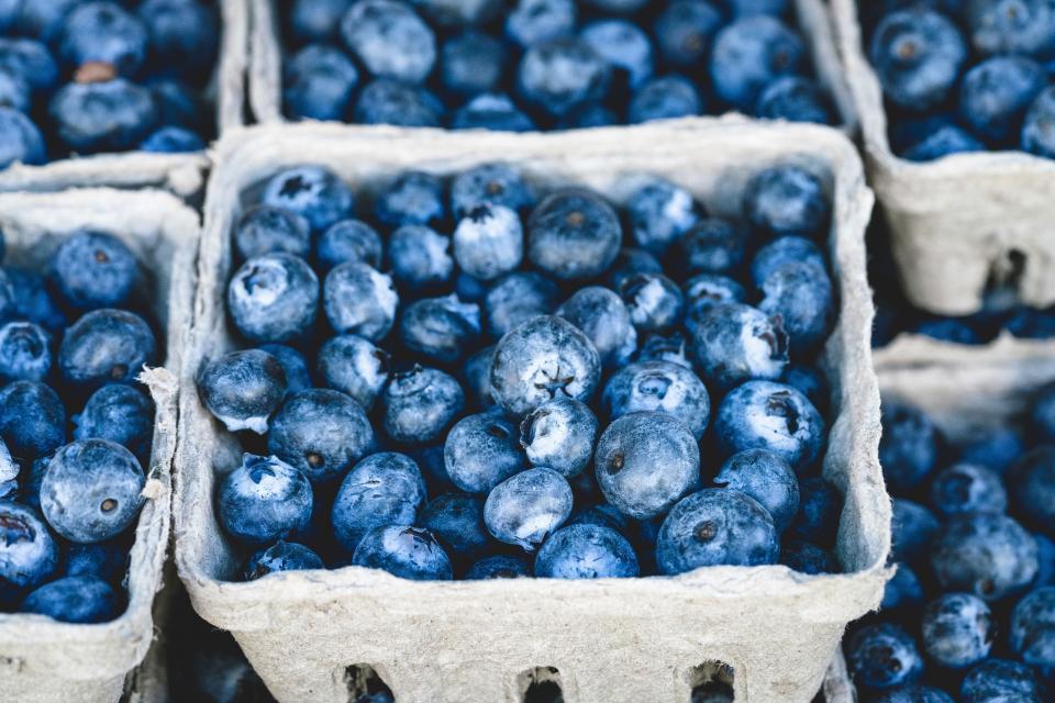 blueberries, blueberry, fruits, basket, food, market