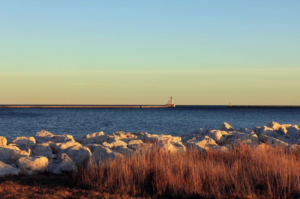 blue, sky, lighthouse, water, rocks, sunny