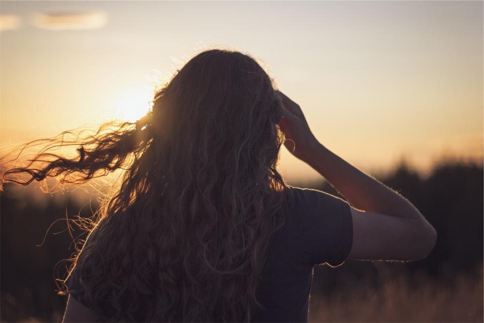 sunset, girl, woman, brunette, long hair,curls, people