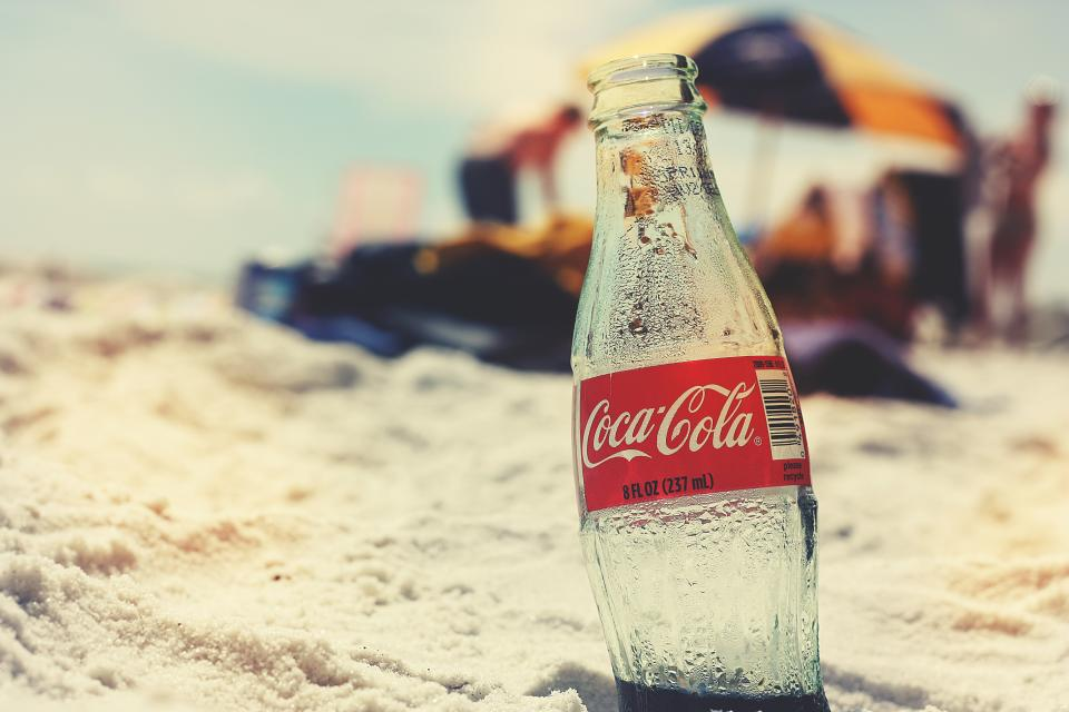 coke, coca cola, soda, bottle, soft drink, beach, sand, summer, sunny, sunshine