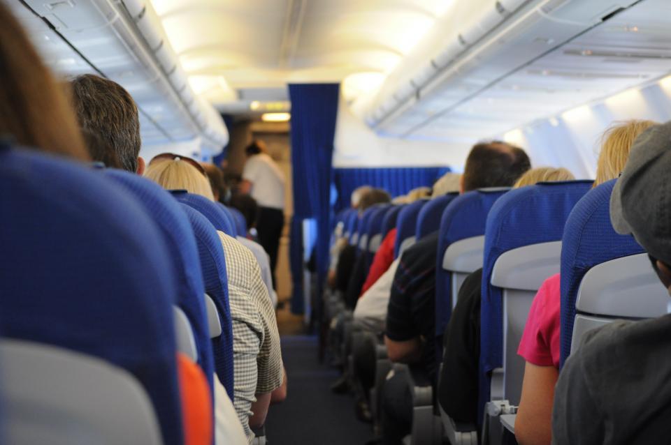 airplane, on board, seats, people, travel, transportation, aisle