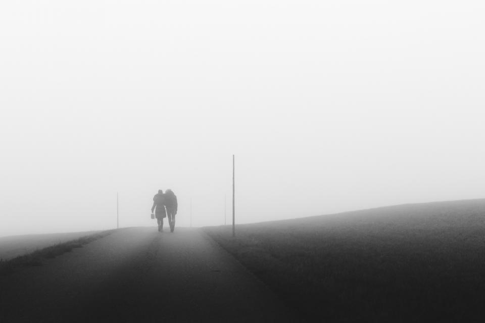 people, walking, pedestrians, road, rural, countryside, fog, foggy, black and white