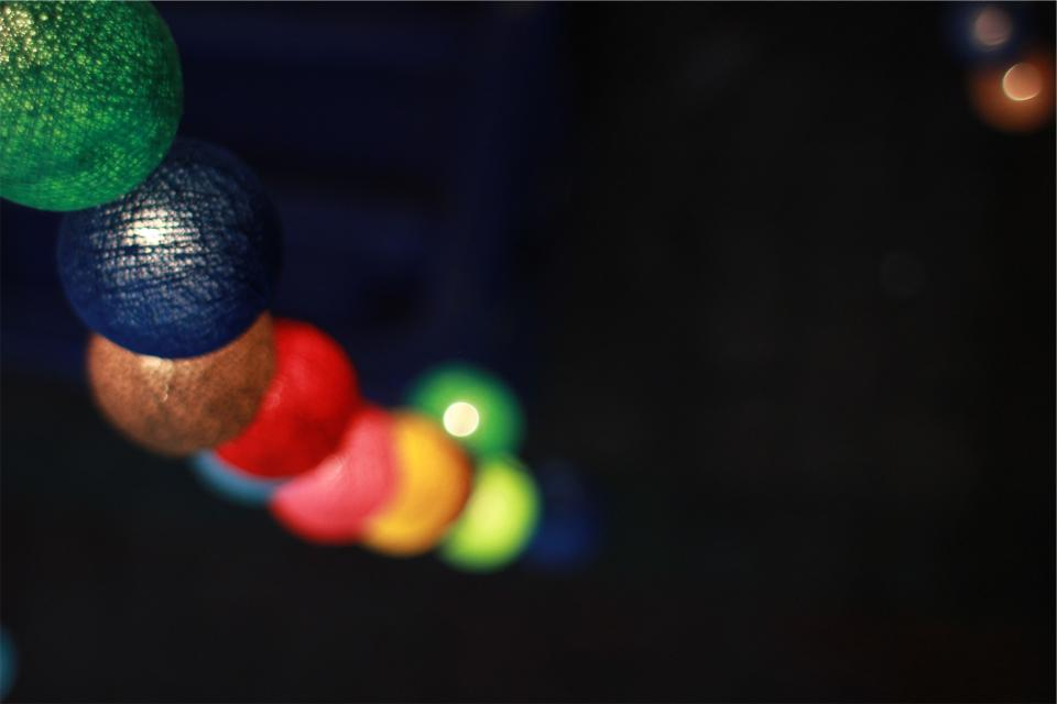 lights, balls, spheres, blurry, night