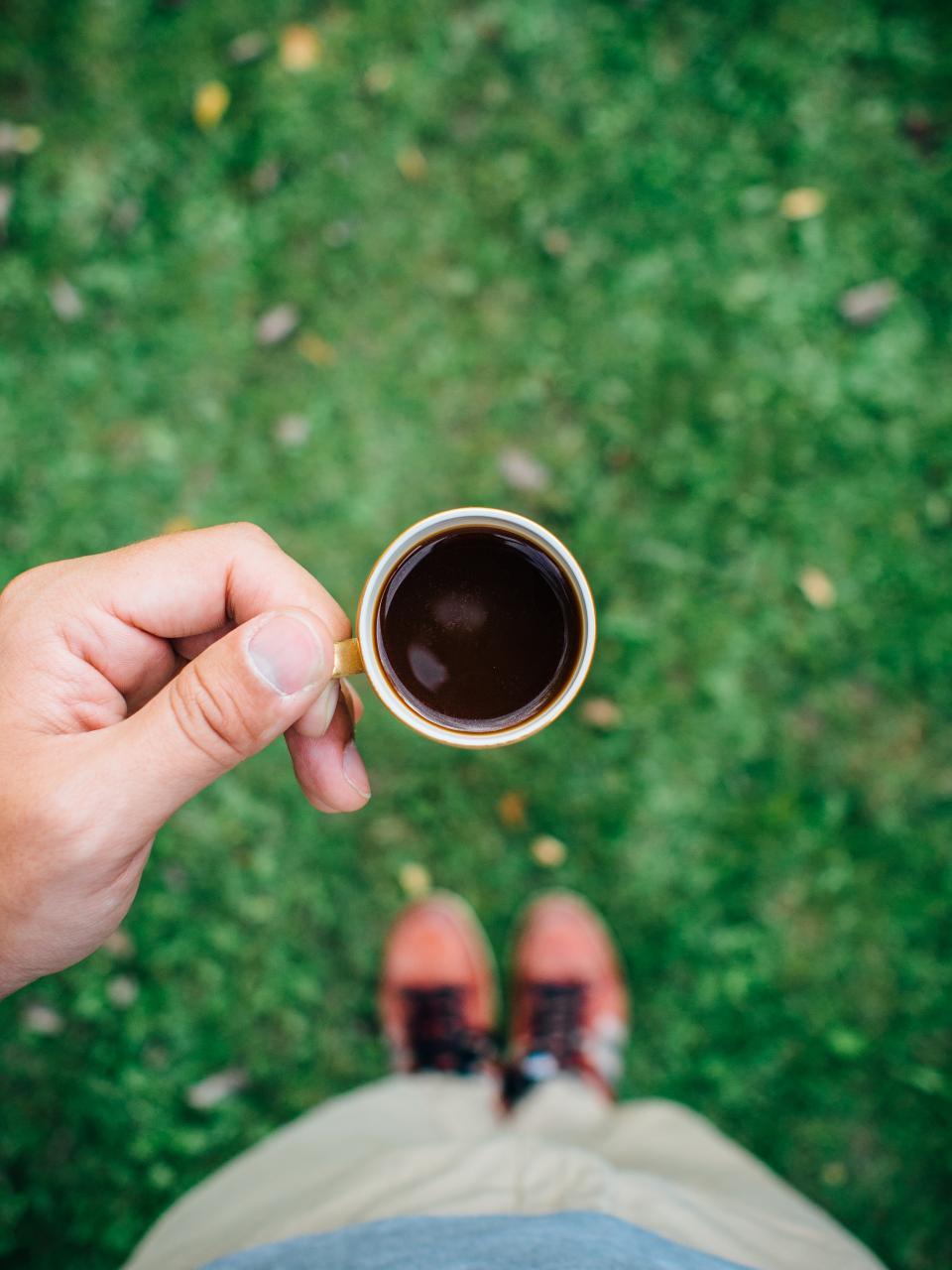 espresso, coffee, hands, grass, outside