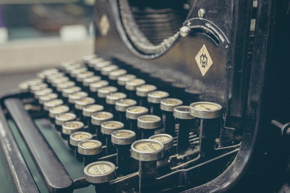 typewriter, vintage, old, history typing