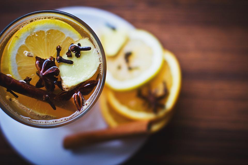 lemon, drinks, cinnamon, glass