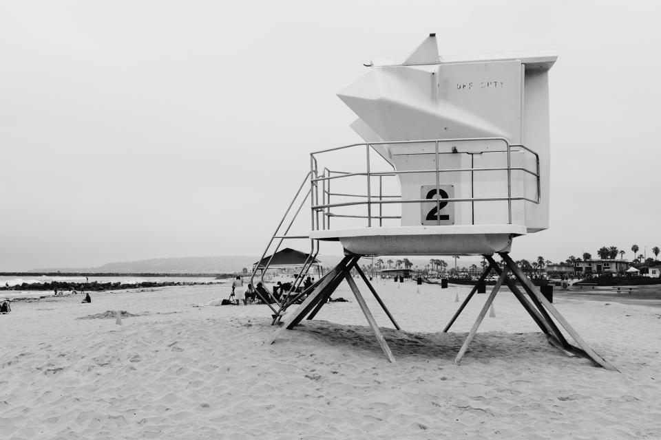 beach, sand, lifeguard, black and white
