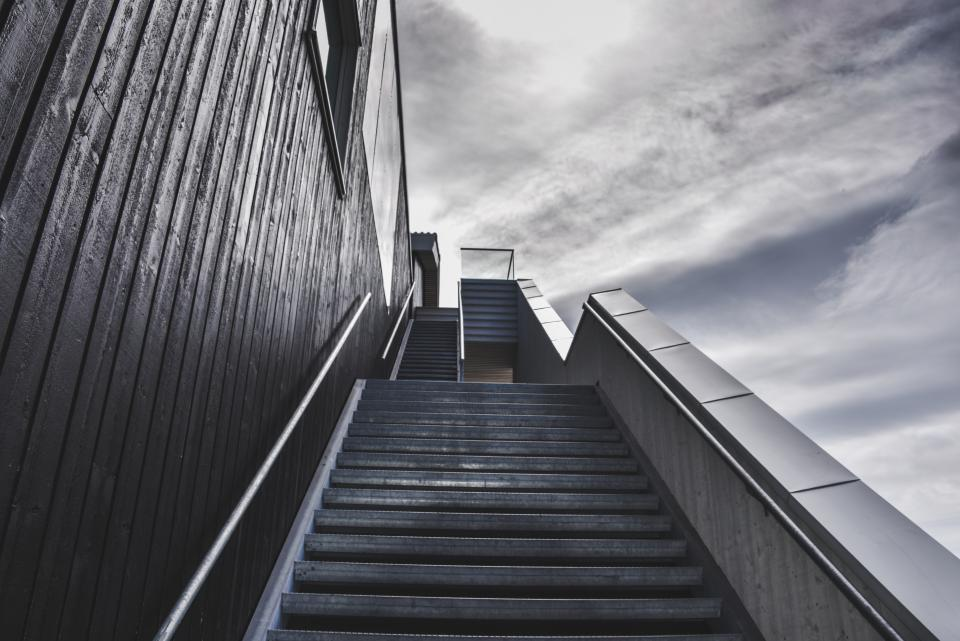 steps, stairs, building, architecture, railing, sky, clouds