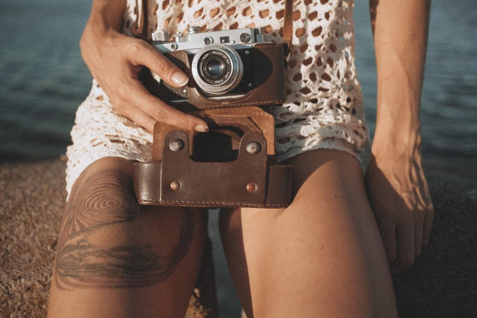 camera, girl, woman, tattoo, photographer, photography, lens, people, shorts