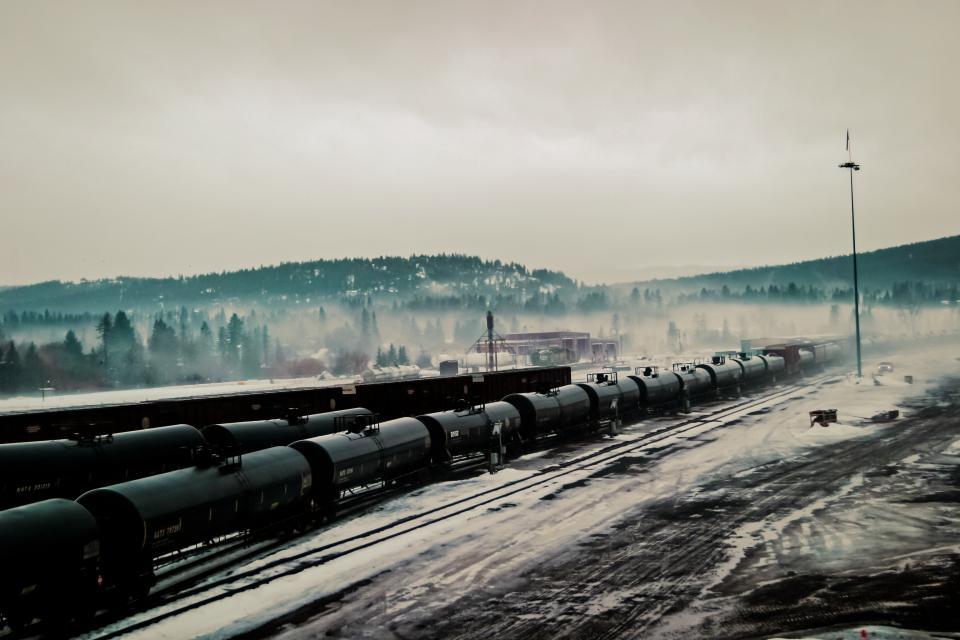 trains, tracks, railroad, railway, transportation, clouds, cloudy, fog
