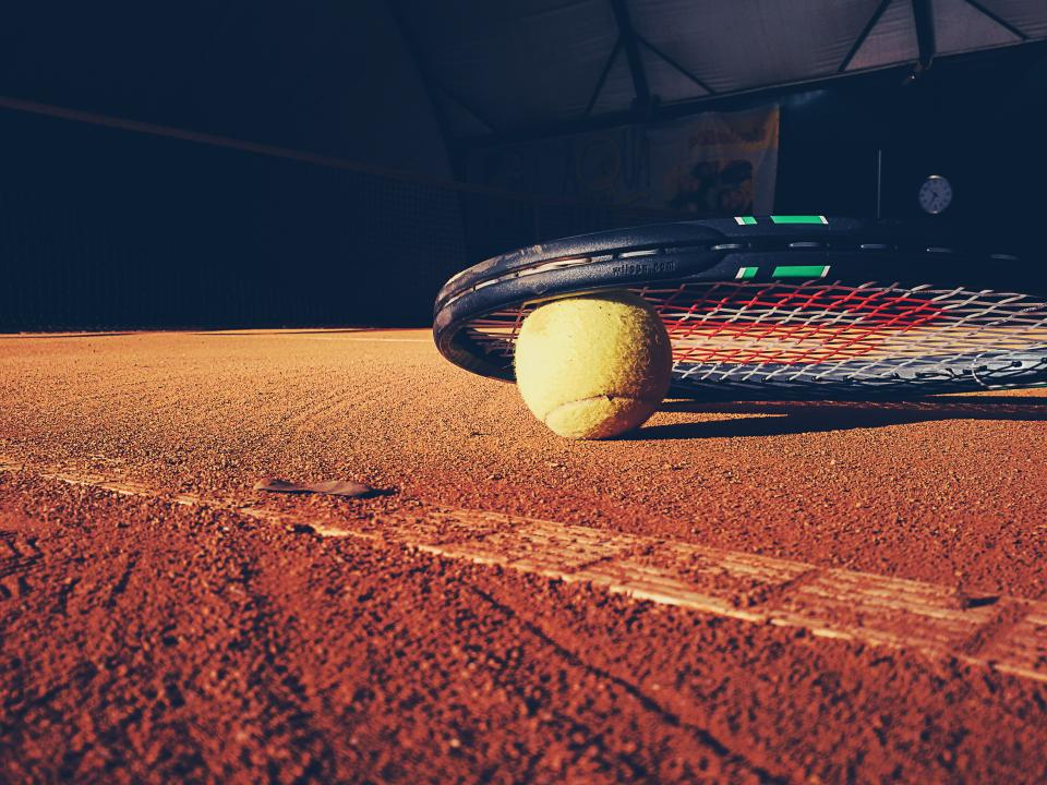 tennis, racket, court, clay, ball, sports, fitness
