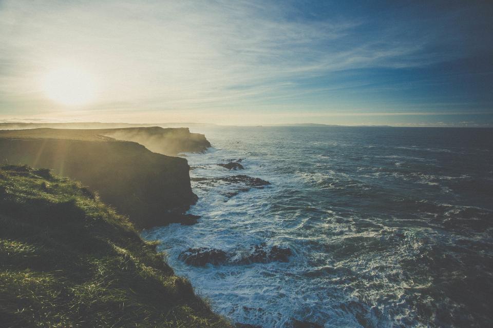 ocean, sea, coast, waves, blue, water, sky, sunset, sunshine, nature, landscape, cliff, vacation, travel