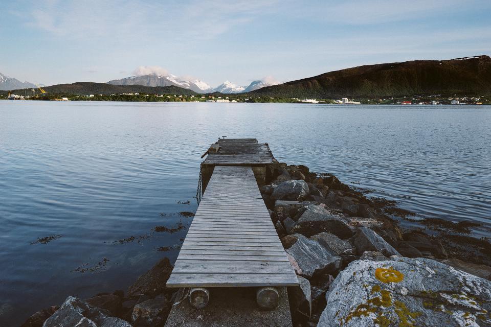 wood, dock, lake, water, rocks, outdoors, landscape, nature, adventure, mountains, sky